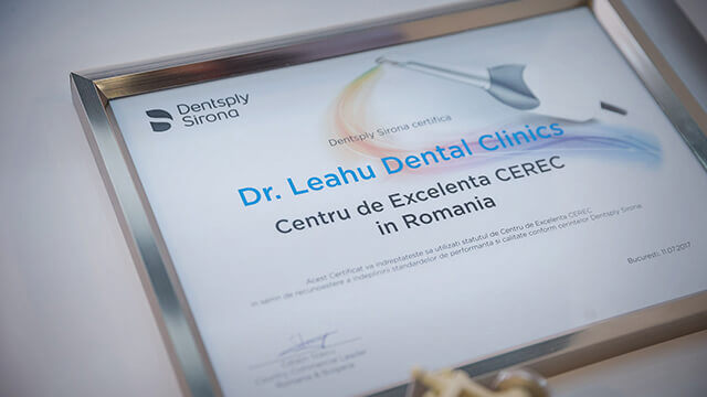 Diploma de excelență CEREC în România, primită de Clinicile stomatologice Dr. Leahu