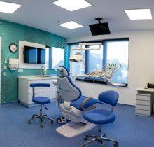 Cabinetele dentare pentru copii de la clinica Dr. Leahu Iasi sunt vesele si atragatoare, in culori de verde si albastru