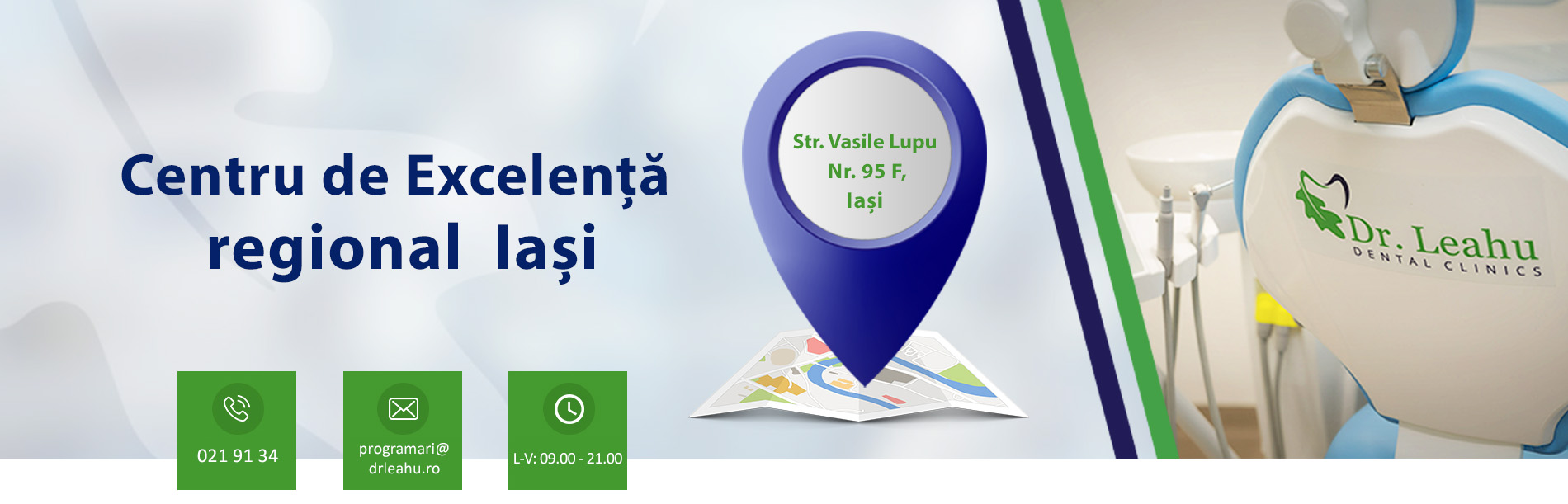 Banner cabinet si contact clinica stomatologica Iasi - Dr. Leahu