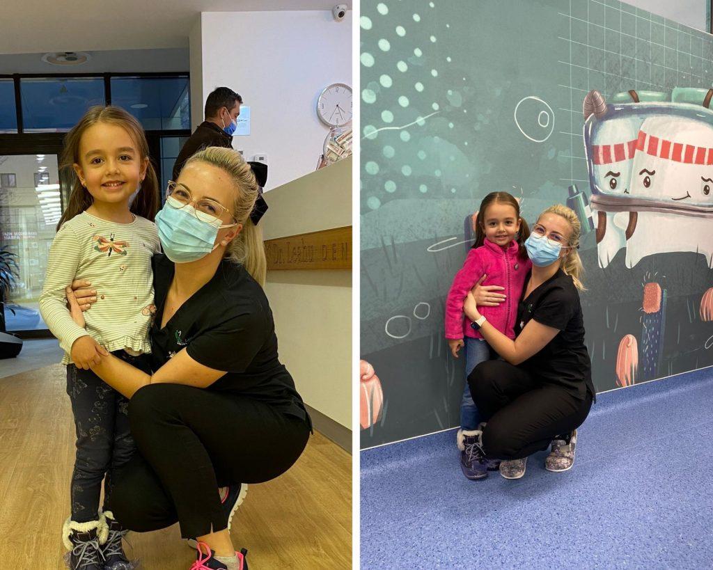 colaj de doua poze cu dr. Bianca Iovoaia in dreapta si pacienta in stanga