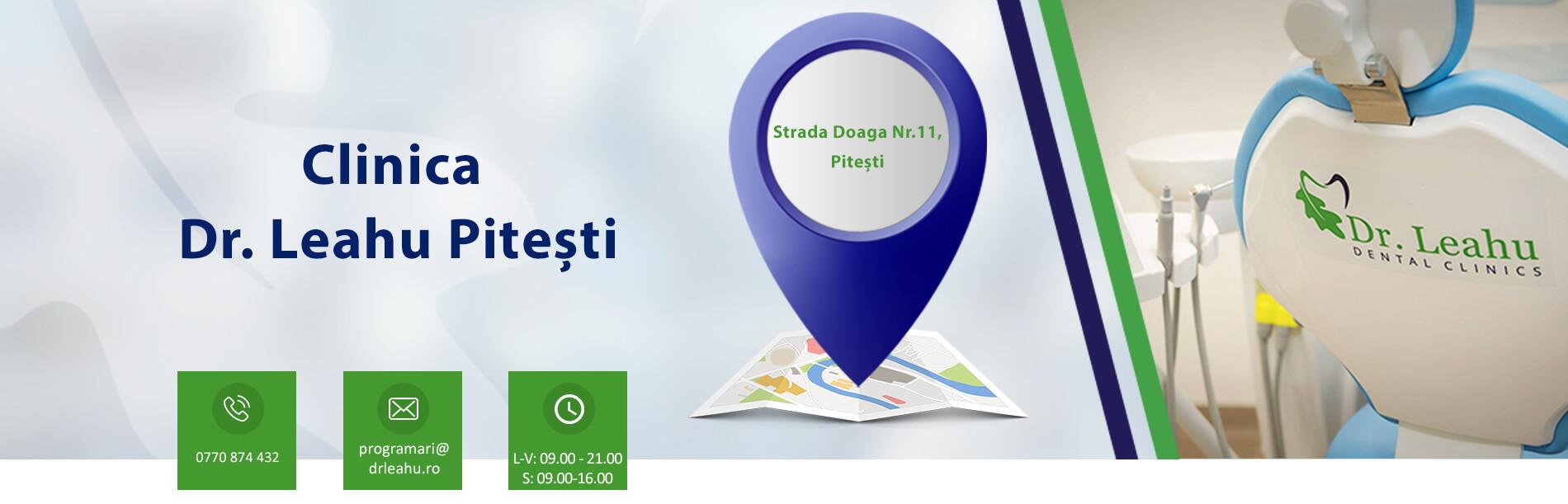 Banner cabinet si contact clinica stomatologica Pitesti - Dr. Leahu